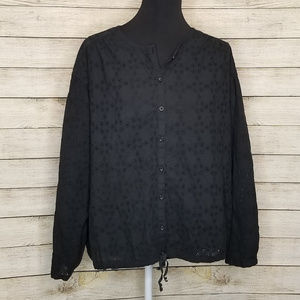 Free People Black Eyelet Stars Align Button Blouse